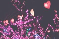 Forma del corazón de las linternas de la ejecución en un festival ligero en la isla de Bali, Indonesia Fotografía de archivo libre de regalías