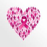 Forma del corazón de las mujeres de la cinta de la conciencia del cáncer de pecho. ilustración del vector