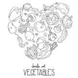 Forma del corazón de verduras frescas Gráficos de vector libre illustration