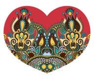 Forma del corazón del cordón con el diseño floral étnico de Paisley para la tarjeta del día de San Valentín libre illustration