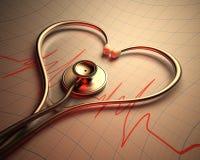 Forma del corazón del estetoscopio stock de ilustración