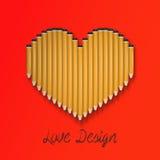 Forma del corazón del lápiz ilustración del vector