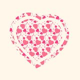 Forma del corazón del vector con el fondo del modelo de los corazones stock de ilustración