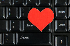 Forma del corazón en el teclado Imagen de archivo libre de regalías