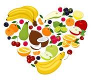 Forma del corazón por las diversas frutas Corazón del coco, pera, cal, frambuesa, zarzamora, manzana, cereza, mandarín, plátano,  stock de ilustración