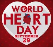 Forma del corazón con el mensaje del saludo para celebrar el día del corazón del mundo, ejemplo del vector Imagen de archivo libre de regalías