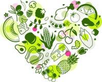 Forma del cuore: alimento colourful & sano - illustrazione di vettore illustrazione vettoriale