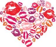 Forma del cuore con i baci Fotografie Stock Libere da Diritti