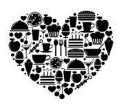 Forma del cuore con le icone dell'alimento Fotografia Stock