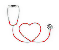 forma del cuore 3d creata con lo stetoscopio Immagini Stock Libere da Diritti