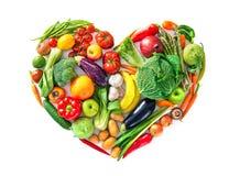 Forma del cuore dalle varie verdure e dalla frutta Concetto sano dell'alimento fotografie stock libere da diritti