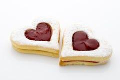 Forma del cuore dei biscotti Fotografie Stock