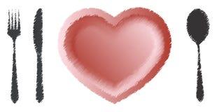 Forma del cuore del commensale di amore Immagine Stock