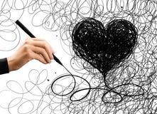 Forma del cuore del disegno della mano immagine stock