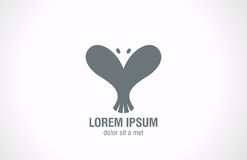 Forma del cuore dell'estratto di Logo Bird. Desi creativo di amore Fotografia Stock Libera da Diritti