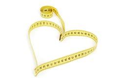 Forma del cuore di misura di nastro - salute, concetto del peso Fotografie Stock