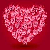 Forma del cuore di scarabocchio Fotografie Stock