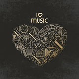 Forma del cuore di vettore con l'insieme dell'icona degli strumenti di musica Amo la musica - illustrazione al tratto sottile Sil Fotografie Stock