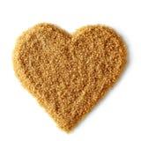 Forma del cuore di zucchero bruno Immagini Stock Libere da Diritti