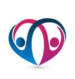 Forma del cuore e logo delle coppie Immagini Stock