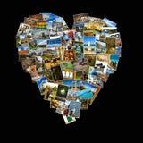 Forma del cuore fatta con le immagini di viaggio Fotografia Stock