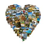 Forma del cuore fatta con le immagini di viaggio Immagine Stock Libera da Diritti