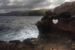 Forma del cuore a Nakalele in Hawai fotografia stock libera da diritti