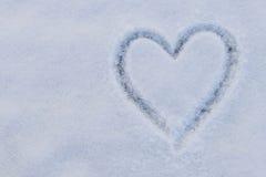 Forma del cuore su neve Fotografia Stock Libera da Diritti