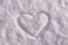 Forma del cuore su neve Immagine Stock Libera da Diritti