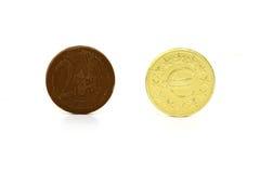 Forma del dinero de chocolate Fotografía de archivo libre de regalías