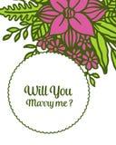 Forma del ejemplo del vector usted me casar? con el marco p?rpura de la flor de la muchedumbre libre illustration