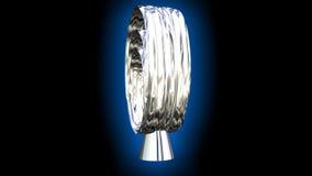 Forma del extracto del logotipo de la plata metalizada integrada por el óvalo y el cono que giran en fondo oscuro con resplandor  ilustración del vector