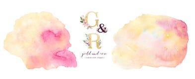 Forma del fondo della pittura acrilica dell'acquerello della rosa e dell'oro Pittura dorata astratta dell'inchiostro della spazzo royalty illustrazione gratis