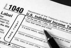 Forma del impuesto sobre la renta Foto de archivo libre de regalías