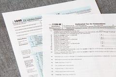 Forma del impuesto sobre la renta de U S Imágenes de archivo libres de regalías