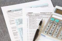 Forma del impuesto sobre la renta de U S Fotos de archivo