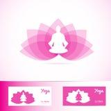 Forma del logotipo del hombre de la meditación de la flor de loto de la yoga Imagenes de archivo
