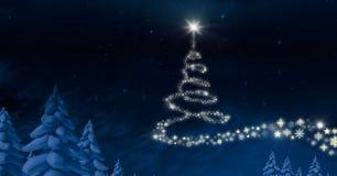 Forma del modelo del árbol de navidad del copo de nieve que brilla intensamente en cielo del invierno Imágenes de archivo libres de regalías