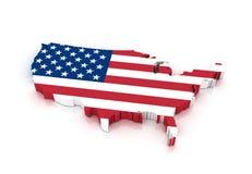 Forma del país de los E.E.U.U. con la bandera Fotografía de archivo