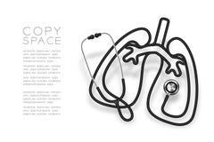 Forma del polmone fatta da colore nero del cavo dello stetoscopio ed illustrazione di progettazione di massima dell'organo di sci illustrazione vettoriale