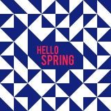Forma del Rhombus y del cuadrado y hola primavera stock de ilustración