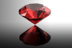 Forma del roung delle gemme di Garnet.Jewelry su fondo nero Fotografie Stock Libere da Diritti