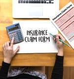 Forma del seguro médico de las DEMANDAS, concepto del negocio, demandas de los asegurados imagen de archivo