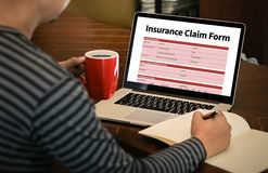 Forma del seguro médico de las DEMANDAS, concepto del negocio, demandas de los asegurados fotos de archivo libres de regalías