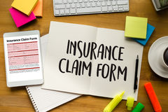 Forma del seguro médico de las DEMANDAS, concepto del negocio, demandas de los asegurados imágenes de archivo libres de regalías