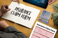 Forma del seguro médico de las DEMANDAS, concepto del negocio, demandas de los asegurados fotos de archivo