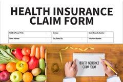 Forma del seguro médico de las DEMANDAS, documento de las demandas del cliente imagen de archivo libre de regalías