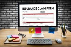 Forma del seguro médico de las DEMANDAS, documento de las demandas del cliente foto de archivo libre de regalías