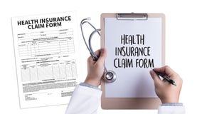 Forma del seguro médico de las DEMANDAS, documento de las demandas del cliente imagen de archivo