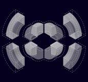 Forma del vector curvado del extracto en negro Marca isométrica de institución científica, centro de investigación, laboratorios  Imágenes de archivo libres de regalías
